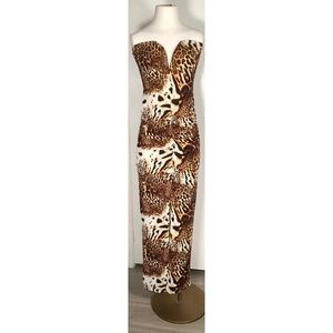 Large Strapless Formal Dress Cheetah Long Gown